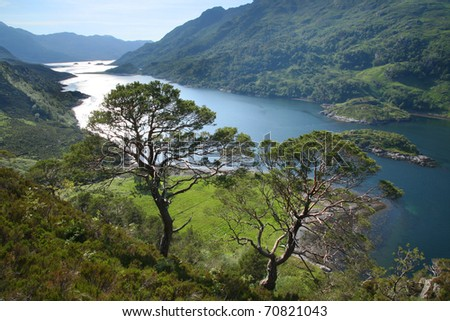 Loch Hourn and the Mountains of the Knoydart Peninsula in the highlands of western Scotland. - stock photo