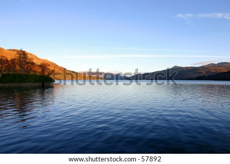 Loch Katrine in the Trossachs area of Scotland - stock photo