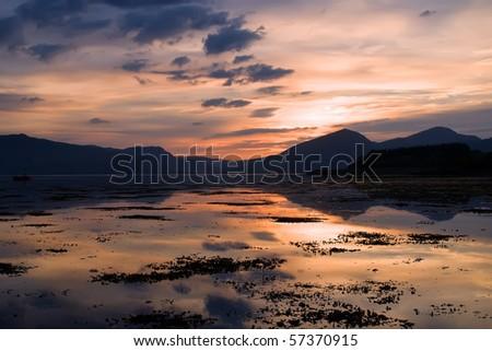 Loch Linnhe in Scotland seen at dusk - stock photo