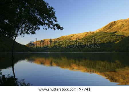 Loch Lubnaig at dawn, Scotland - stock photo