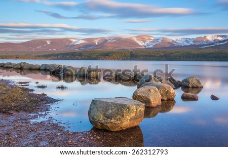 Loch Morlich in the Cairngorm National Park, Scotland - stock photo