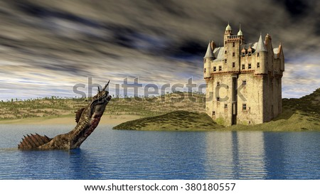 Loch Ness Monster and Scottish Castle Computer generated 3D illustration - stock photo