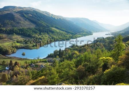 Loch Voil in spring evening. The village of Balquhidder lies near the head of Loch Voil, Perthshire,  Scotland, UK.  - stock photo