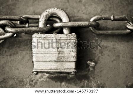 lock and chain - stock photo