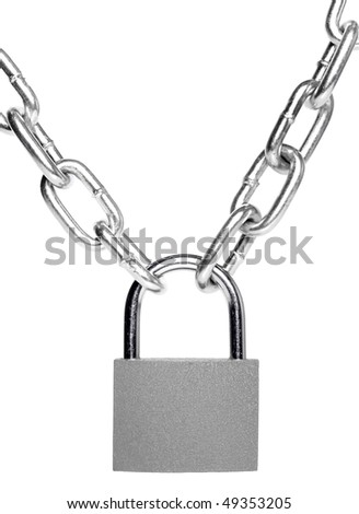lock and chain isolated on white background - stock photo