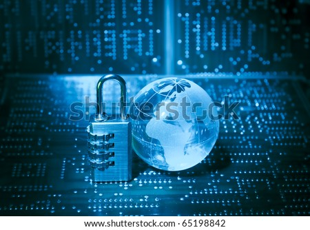 Lock and electronic printed circuit board with technology style against fiber optic background - stock photo