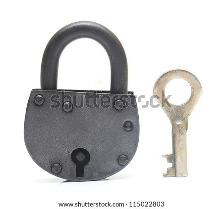 lock and key isolated on white - stock photo