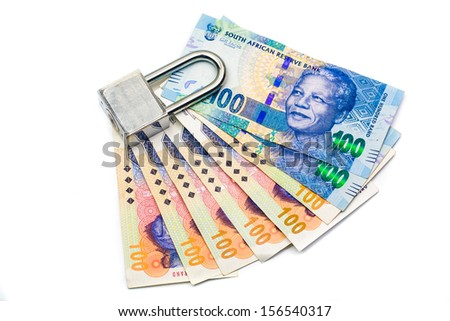 Lock and money, isolated on the white background - stock photo