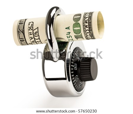 Lock and money isolated on white background. Concept of money safety or investment. - stock photo