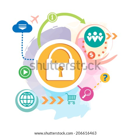 Lock and question mark on abstract background. Raster version for the print, banner. - stock photo