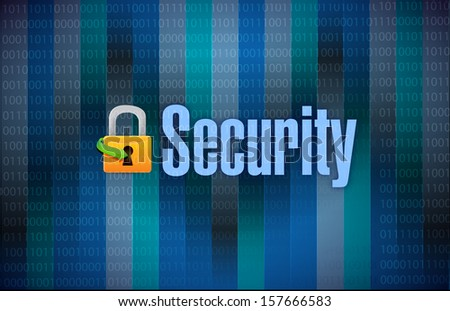 lock and security binary dark background illustration design - stock photo