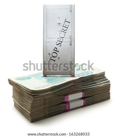 Lock box safe on pile of money in wrapper - stock photo