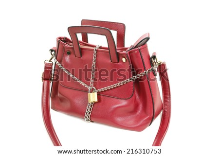 lock, chain and woman bag - stock photo