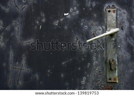 lock door, old metal door with lock - stock photo