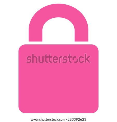 Lock icon from Basic Plain Icon Set. Style: flat symbol icon, pink color, rounded angles, white background. - stock photo