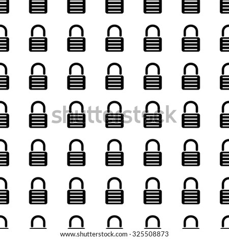 Lock icon seamless pattern, tiling ornament on white. - stock photo