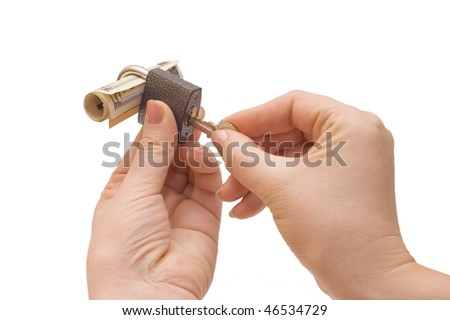 Lock in hands isolated on white background - stock photo