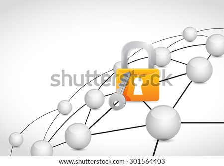 lock link sphere network connection concept illustration design graphic background - stock photo