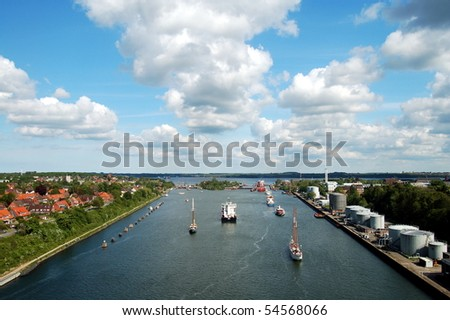 lock of the Kiel-Canal in Kiel. The lock opens the canal to the Baltic-Sea - stock photo