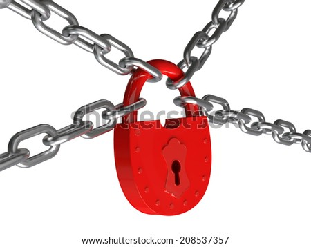lock on a circuit isolated on a white background 3d - stock photo