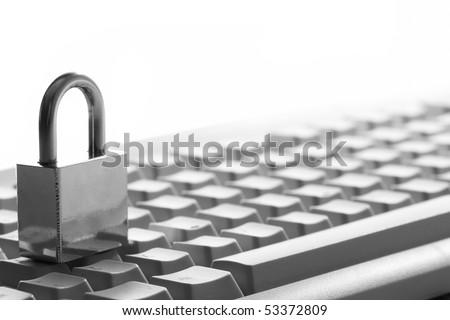 Lock on the keyboard - stock photo