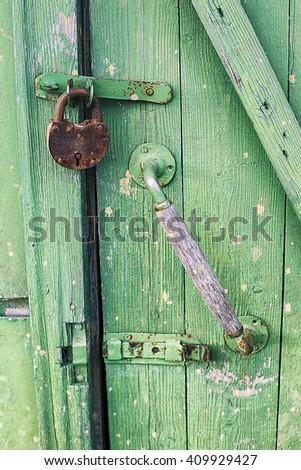 lock, padlock, key, door - stock photo