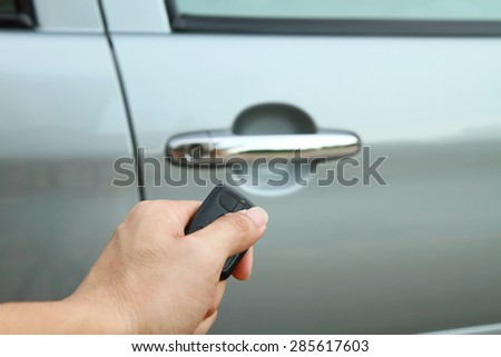 Lock the car by remote / car remote - stock photo