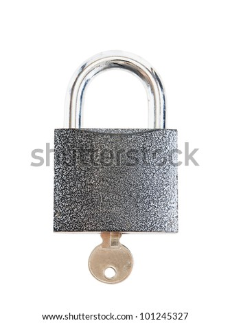 Lock with a key isolated over white background - stock photo