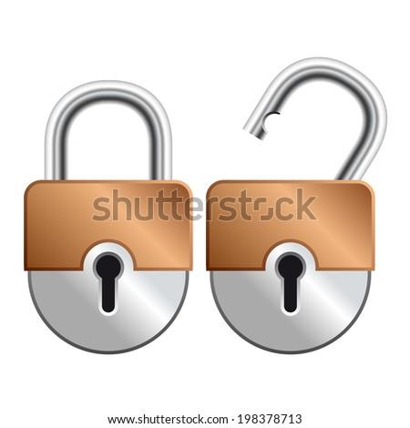 Locked and unlocked Padlock Icon isolated on white background - stock photo