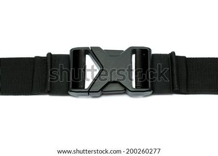 Locked black plastic buckle on strap isolated on white - stock photo