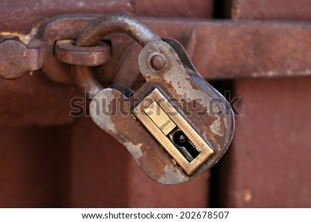 Locked Door inside the ancient Santa Catalina convent in Arequipa, Peru - stock photo