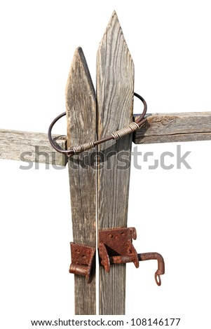 Locked gate of old wooden fence isolated on white - stock photo