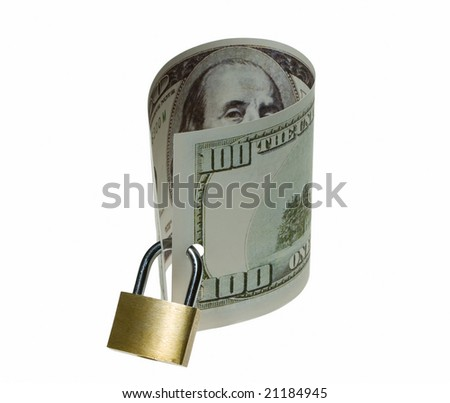 Locked money as a symbol of savings and guarantee - stock photo