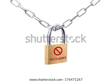 Locked padlock and chain with red sign Access Denied - stock photo