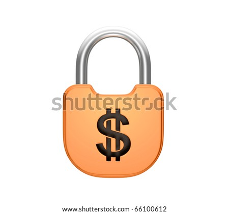 Locked padlock - US dollar currency concept. Isolated over white - stock photo