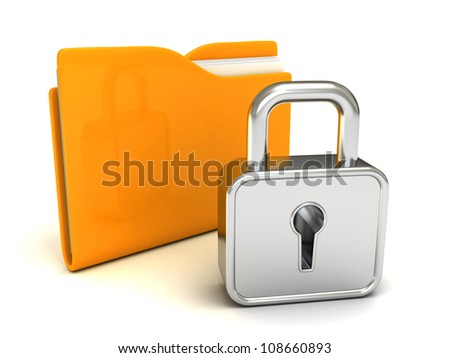 locked yellow folder with closed padlock on white background - stock photo