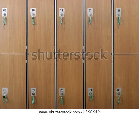Locker room background - stock photo