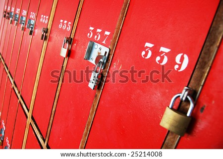 Locker room doors with locks - stock photo
