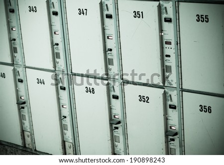 Lockers cabinets in a locker room. lockers at a railway station - stock photo