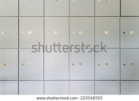 Lockers numbered inside building, construction - stock photo