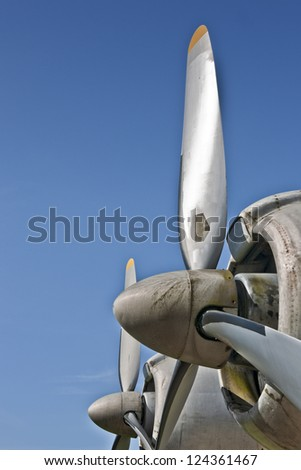 Lockheed Super Constellation engines with propellers - stock photo