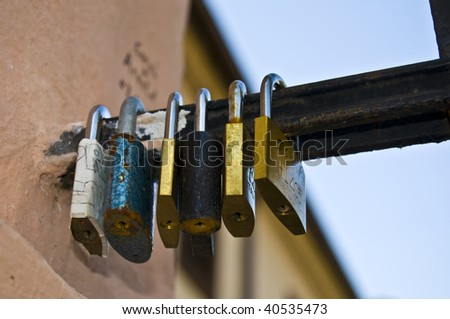 locks symbolizing a vow for everlasting love - stock photo