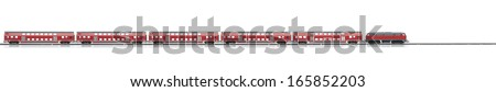 loco model with red passenger express wagons isolated over white background - stock photo
