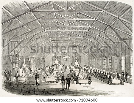 Locomotive blessing ceremony in Cherburg: guests dining room. Created by Goddur, published on L'Illustration, Journal Universel, Paris, 1858 - stock photo