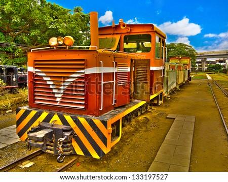 Locomotive Train at a village in Taiwan - stock photo