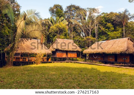 Lodge , Cuyabeno Wildlife Reserve, Sucumbios Province, south america  - stock photo