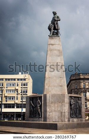 LODZ CITY, POLAND - MAY 17, 2015: Tadeusz Kosciuszko statue at Liberty Square. Polish military leader of a national insurrection. Colonel in the American Revolutionary War - stock photo