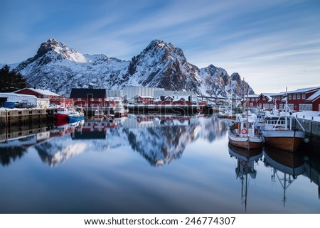 lofoten island main city - stock photo