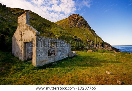 Lofoten Islands, alone, old house - stock photo
