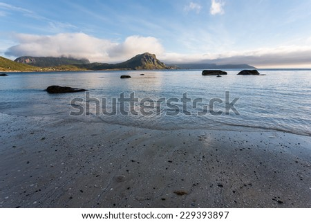 Lofoten landscape at the seaside at the sunset. - stock photo